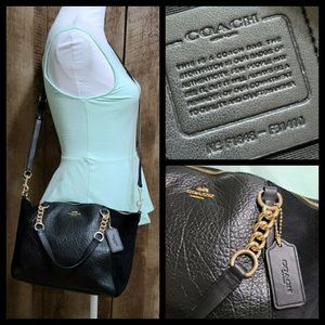 Coach Black Pebbled Leather Gold Purse F31410 Kels